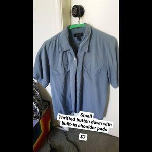 Thrifted Blue Button Down Shirt